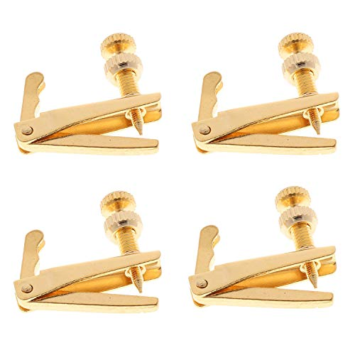 4 Stück Violine Feinstimmer für 4/4-3/4 Violine Violine Geige Ersatz Teil Metall Nickel Plated String Adjuster