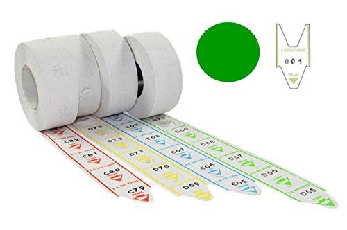 5Rollen à 2000Tickets für löschcode-Schwalbenschwanz-Nummerierte Alfa grün