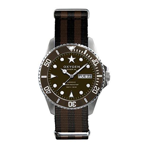 Oxygen Diver 44Hombres Reloj De Cuarzo AnalóGico para hombre de nailon color marrón EX-D-GRI-44-BLBR