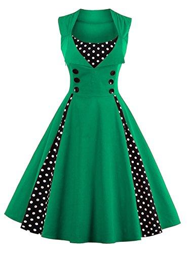 VKStar® Vintage 50er Jahre Rockabilly Kleid Ärmellos Polka Dots Kleid Retro Swing Elegantes Abendkleid mit Knöpfe Grün XXL