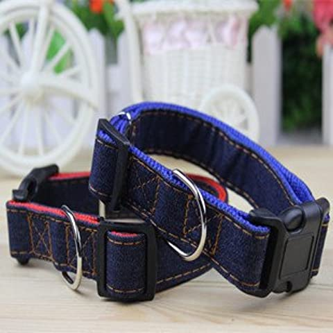 ZPP-Pet pet correa correa collar collar collar denim,red,2.0cm