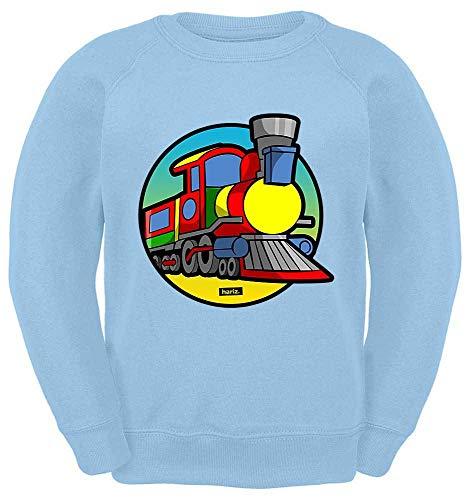 HARIZ Kinder Sweater Eisenbahn TUT TUT Fahrzeuge Traktor Plus Geschenkkarte Himmel Blau 104/3-4 Jahre 1 Humor Sweatshirt