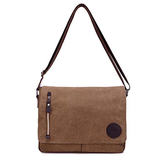 Young & Ming - Herren Men Leinwand Briefcase Aktentasche Schultertasche Tasche Handtaschen Messenger Tasche PC-Tasche (Leder Givenchy Braun)