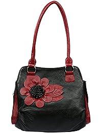 Fristo Stylish Flower 1 Women's Handbag(Black And Maroon)