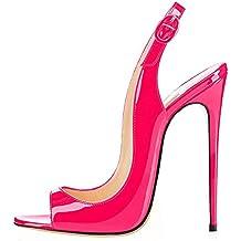 01cbb398c0e ELASHE - Zapatos de tacón - 12 CM Sandalias de Vestir - Tira de Tobillo  Sandalias