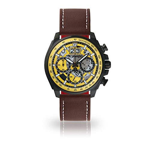 DETOMASO LIVELLO DT2060-A-908 - Reloj de Pulsera para Hombre, cronógrafo, analógico, Cuarzo, Correa de Piel marrón, Esfera Amarilla