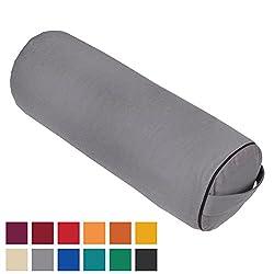 """Yoga- und Pilates-Bolster """"Made in Germany"""", 65 x Ø 23cm groß, grau, mit Dinkel-Füllung aus unserer Bodhi Manufaktur"""