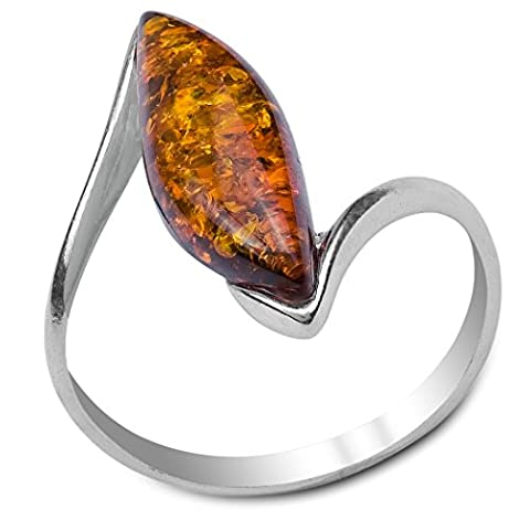 Amber Sterling Silver Thin Marquise