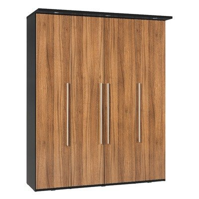 Argento Five Door Wardrobe in Black and High Gloss Walnut