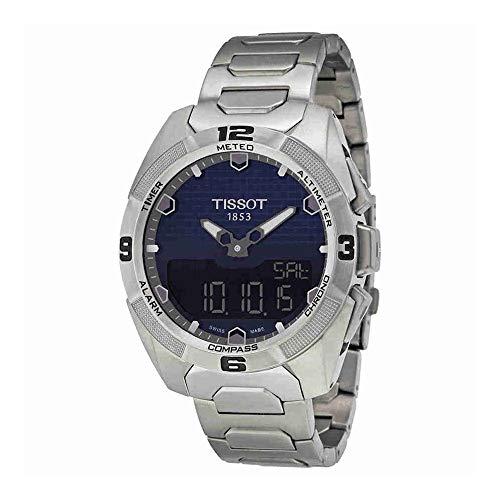 Tissot Homme Gris titane Bracelet et coque Cristal Saphir Suisse à quartz Cadran bleu montre T0914204404100