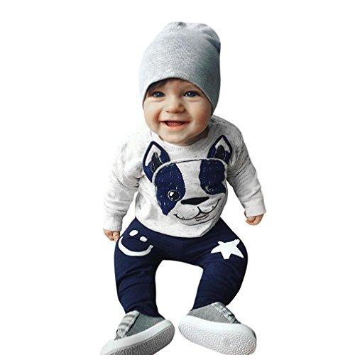 ❤️ Amlaiworld Conjunto de bebé recien nacido Primavera verano Niños niñas Dibujos animados Perro Orejas Tops Pantalones Conjunto de ropa 0 - 24 Mes (gris, Tamaño:0-6Mes)