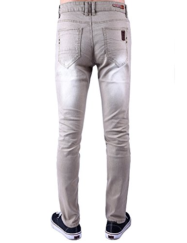 Idopy Herren Straight Leg Slim Fit Farbige gewaschenen Jeans-Jeans Khaki