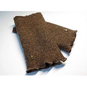 Armstulpen/Pulswärmer: Walkwolle (Walkloden, Kochwolle) in meliertem Braun; Charm (winzige Blätterchen)