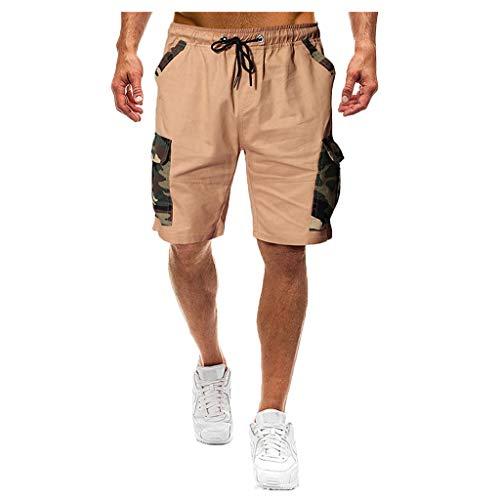 MOTOCO Herren Casual Print Shorts Sommer Sport Camo Cargo Shorts elastische Taille Tasche(M,Khaki-1) Oshkosh Khaki