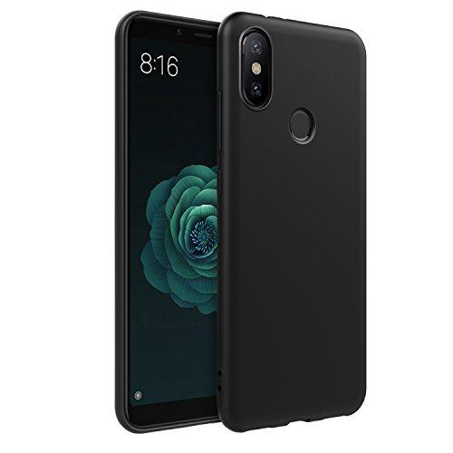 EasyAcc Xiaomi Mi A2 / Xiaomi 6X Hülle Case, Schwarz TPU Telefonhülle Matte Oberfläche Handyhülle Schutzhülle Schmaler Telefonschutz für das Xiaomi Mi A2 / Xiaomi 6X