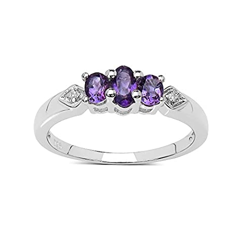 The Amethyst Ring Collection: Sterling Silver Amethyst 3 Stone Engagement Ring with White Topaz Set Shoulders (Size