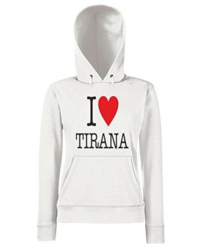 T-Shirtshock - Sweats a capuche Femme T0017 I LOVE TIRANA Blanc
