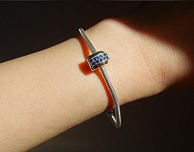 Bracelet chaîne lisse et souple, collier charm argent 925/1000e, forme ronde épaisseur 3mm, Longueur 18.5Cm bracelet pour Charms (Charm pavé non inclus dans le prix)