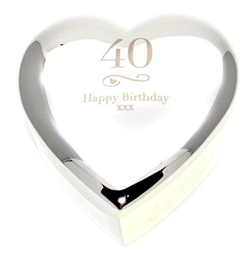 Chris Bag of Goodies Schmuckkästchen für Damen, zum 40. Geburtstag, Wirbel und Herz, silberfarben