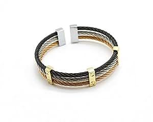 BC617 - Bracelet Jonc Triple Torsadé Acier Tricolore