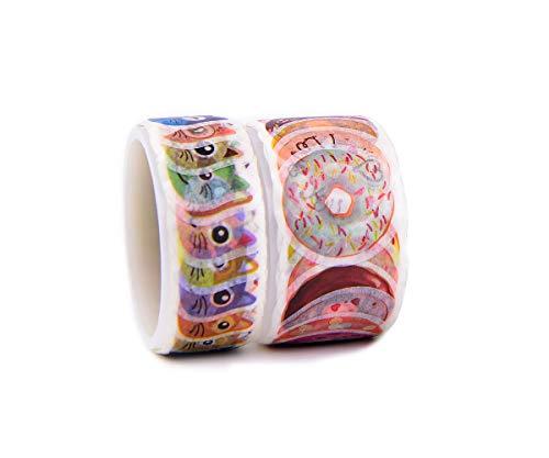 2 Rollen Washi Tape, Katzenkopf und Krapfen Form Aufkleber für Sammelalbum, Bullet Journal, Planer, Kunst und Handwerk DIY, 180 Stück insgesamt
