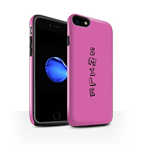 STUFF4 Glanz Harten Stoßfest Hülle / Case für Apple iPhone 8 / Blau/Fabelhaft Muster / Gekritzel Wörter Kollektion Rosa/Lächeln