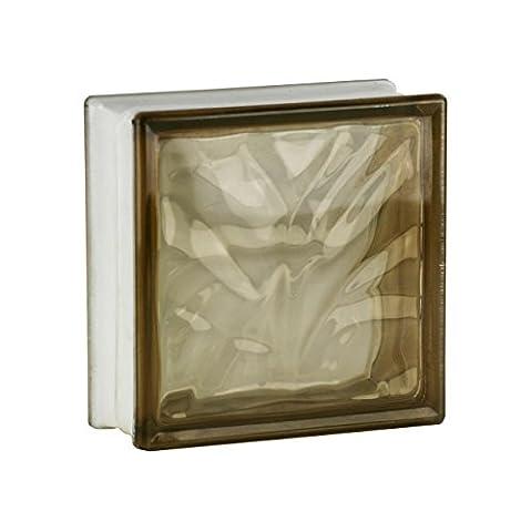 5 Pieces Fuchs Glass Blocks Wave Brown 19x19x8 (Bronzo Bagno Piastrelle)