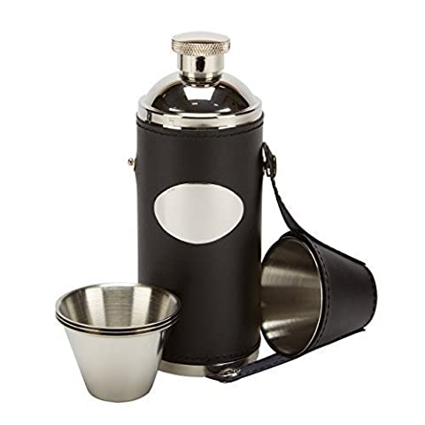 8oz black leather hunting hip flask with 4 cups & free funnel