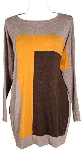 Damen Lagenlook Kashmir Angora Wolle Winter Übergang Pullover Tunika Kleid Strickkleid 44 46 48 50 L XL XXL Streifen Multicolor (46)