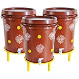 Daily Dump Chomp Triple - Set of 3 Indoor Smart Compost Bin with Stands for Converting All Kinds of Kitchen Food Waste into Manure
