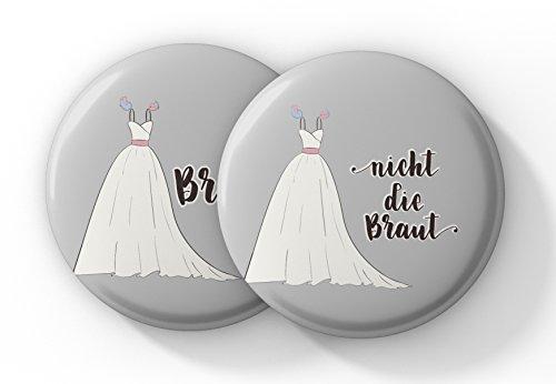 """JGA Buttons Set für Frauen – 12er Set bestehend aus 1x """"Braut"""" und 11x """"Nicht die Braut"""""""