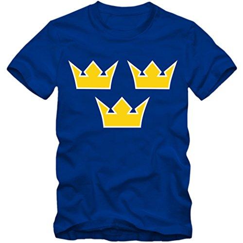 Herren T-Shirt Sverige Schweden Eishockey Icehockey Tre Kronor WM, Farbe:blau;Größe:XL