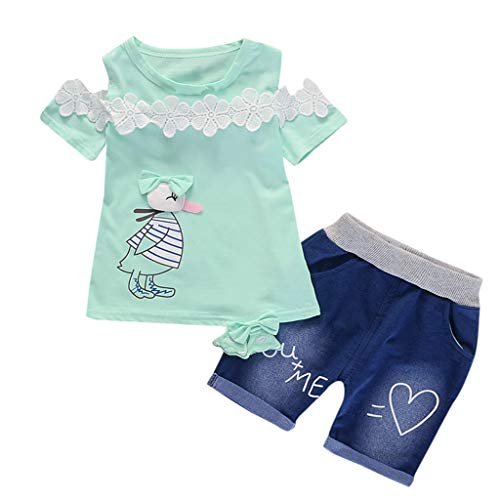 Toddler Baby Girls Short Sleeve Cartoon Print Tops+Denim Shorts Set Outfits