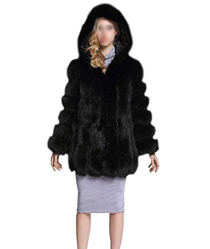 Donna cappotto con cappuccio falso pelliccia sintetica maniche lunghe cappotto parka giubbotti giacca invernali nero l