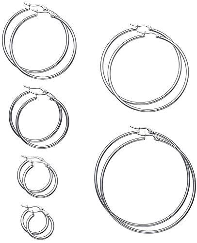 Adramata 6 Paar Edelstahl Creolen für Herren Damen Ohrringe Set 15-60mm