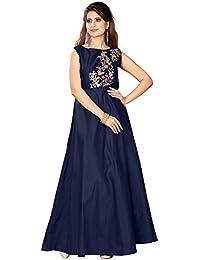 Purva Art Women's Navy Blue Taffeta Silk Blouse Work Stitched Long Gown For Girls (PA_2401_Navy Blue_Taffeta_Stitched_JFW...