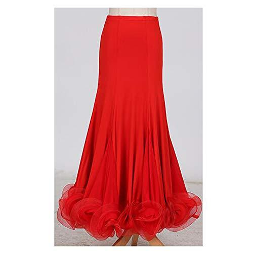 Frauen Classic Dance Kleid Rot Florale Social Dance Rock Latin Bauchtanz Wettbewerb Kostüm Voluminösen Rock Große Größe XL 2XL,XL
