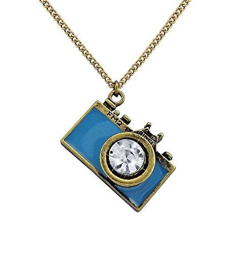 Hanessa Damen-Schmuck Witzige Halskette Kamera Anhänger Fotoapperat in Blau Kristall Linse Geschenk für die Frau/Freundin