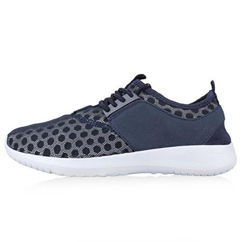 Damen Herren Sneaker Sportschuhe schwarz Turnschuhe Runners mit Blumen Print in mehreren Farben Dunkelblau Netz