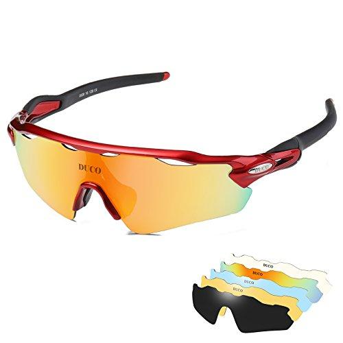 Duco - occhiali da sole polarizzati occhiali, 5 lenti intercambiabili, uv400