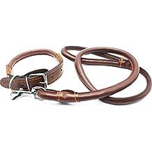 Medium Large Collar de perro Cadena de tracción con mango de cuero, para Labrador Golden Retriever Pastor alemán Husky Outdoor Walking Training Jugando