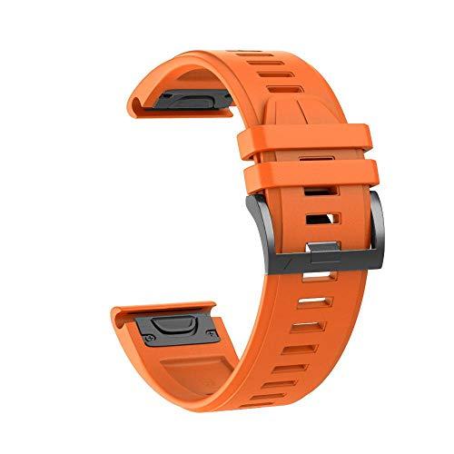YOOSIDE Fenix 5X Silikon Armband, 26mm QuickFit Weich Wasserdicht Silikon Ersatzarmband Uhrenarmband für Garmin Fenix 5X/Fenix 5X Plus/Fenix 3/Quatix 3/D2 Delta PX/ (Orange)