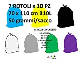 70 Sacchi PATTUME Resistenti 70x110 cm 110L 50gr/Sacco (7 Rotoli x 10 PZ) Sacchi Made in Italy per Raccolta DIFFERENZIATA IMMONDIZIA. 7 Colori Nero,Grigio,Giallo,Verde,Azzurro,Viola e Trasparente