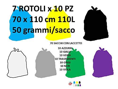 70 Sacchi PATTUME Resistenti 70x110 cm 110L 50gr/Sacco (7 Rotoli x 10 PZ) Sacchi Made in Italy per Raccolta DIFFERENZIATA IMMONDIZIA.