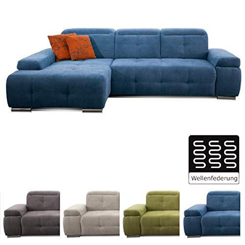 CAVADORE Ecksofa Mistrel mit Longchair XL links / Große Eck-Couch im modernen Design / Inkl. verstellbaren Kopfteilen / Wellenunterfederung / 273 x 77 x 173 / Blau