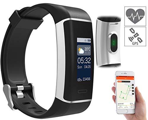 newgen medicals Pulsuhren: Fitness-GPS-Armband mit XL-Farb-Display & App für 24 Sportarten, IP67 (Sportuhren)