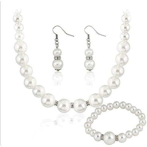 Blanco Collar de perlas de imitación pulsera pendientes de novia | cuello novia, Pearl Gargantilla para Boda