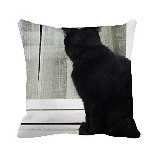 yinggouen Gatto Nero Guardare la finestra decorare per un divano federa Cuscino 45x 45cm