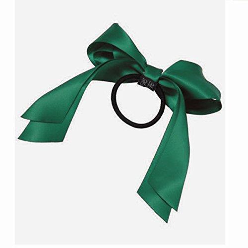 elastic-hair-ring-sodialrlady-lovely-bilayer-ribbon-bow-elastic-hair-ring-dark-green