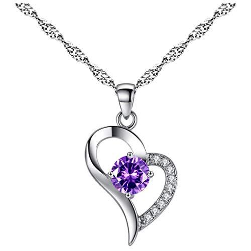 Dorical Damen 925 Sterling Silber 3A Zirkonia Halskette exquisite Geschenk/Frauen Halskette Beliebte Schmuck dchen Geschenk Promo (One size, K)